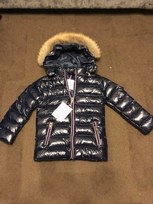 Moncler navy blue shine gloss ski jacket coat 8-9 years old kids for Sale in San Francisco, CA