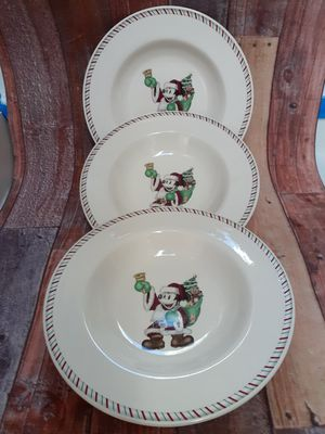 3 Mickey Mouse Santa Soup Bowls Disney Christmas for Sale in Federal Way, WA