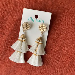 Brand New Gold And White Bohemian Tassel Earrings for Sale in West Hollywood, CA