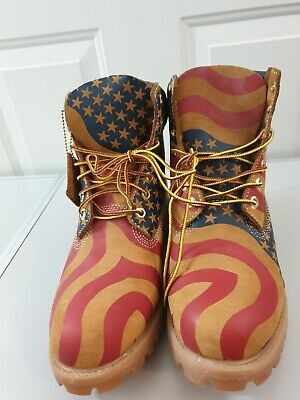 """NEW TIMBERLAND X SUPREME X 6 INCH PREMIUM """"AMERICAN FLAG"""" BOOT Size 11 for Sale in Fullerton, CA"""
