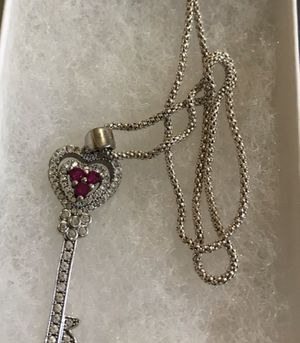 Ruby and Diamond Sterling Silver Key Necklace for Sale in Evansville, IN