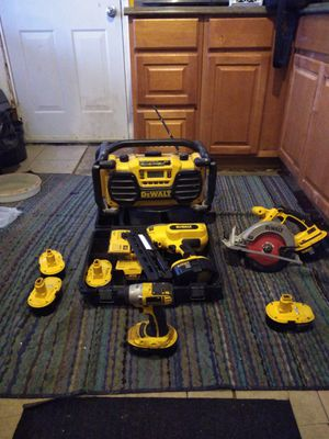 DeWalt nail gun brand new almost in the case a few DeWalt 18v batteries and a saw drill and circular saw for Sale in Obetz, OH
