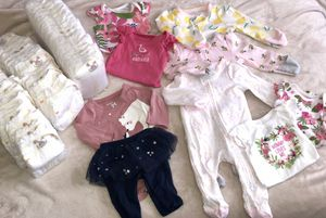 Newborn clothes and diapers (girl) for Sale in Denver, CO