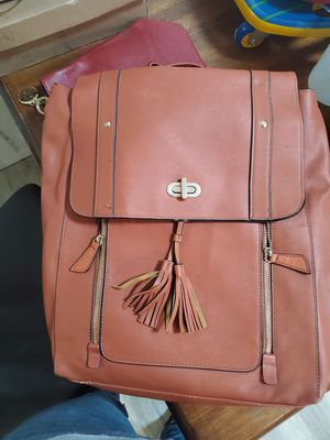 Brown faux leather backpack for Sale in San Bernardino, CA