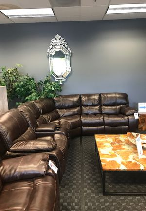Leather Recliner Sectional in Brown, Black, Grey or Palomino Brown for Sale in Vancouver, WA