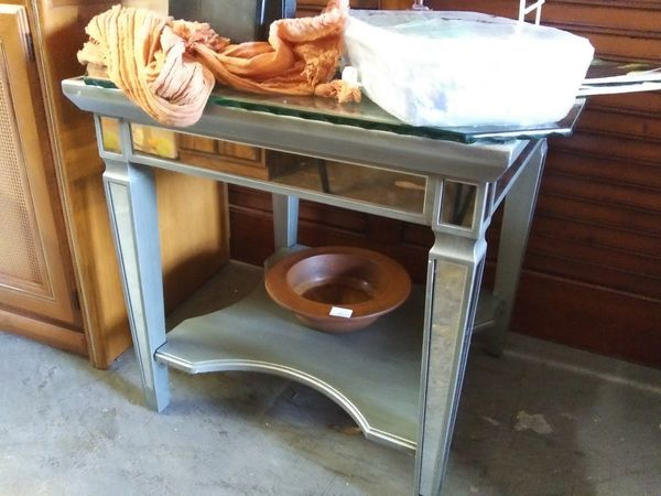 Silver end table glass top