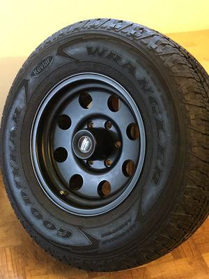 "American Racing Aluminum Wheels/Rims 16"" For Toyota Trucks With Zero Offset Matte Black Police Edition And Goodyear Wrangler Kevlar Tires 265/70/R16 for Sale in Miami, FL"