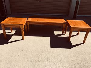 SOLID OAK WOOD SET OF 3 CENTER TABLES for Sale in El Paso, TX