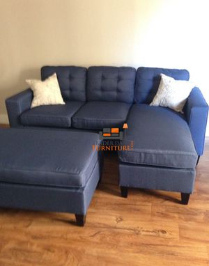 Brand new navy blue sectional sofa couch with ottoman for Sale in Silver Spring, MD