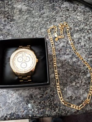 Gold watch and chain for Sale in Las Vegas, NV