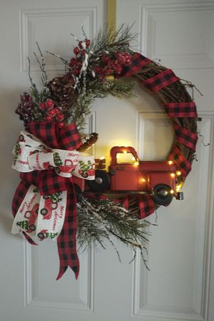 Holiday grapevine truck wreath with lights for Sale in Rhinelander, WI