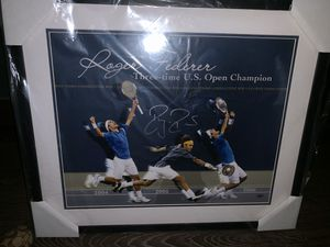 Roger Federer 3x US Open Championship Autographed Collage with authenticity for Sale in San Jose, CA