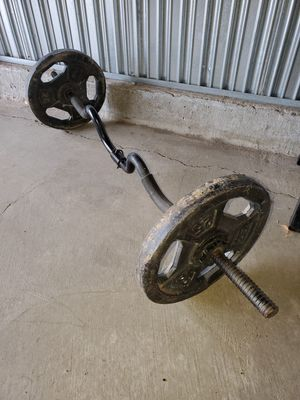 Curl Bar w/Pair of 25lb. Plates for Sale in Henderson, NV