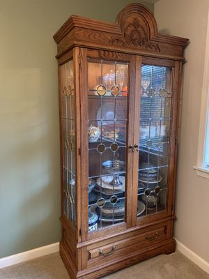 Gorgeous Leaded Glass China Closet with lighting for Sale in Seattle, WA