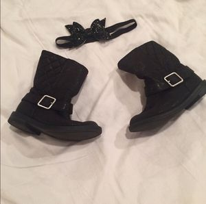 Girl Size 7 Boutique Black Glitter Boots for Sale in Bountiful, UT