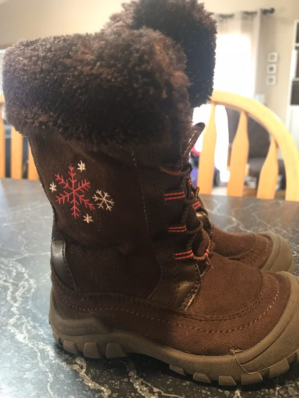 Oshkosh Toddler Boots Girls 6M Brown Textile Faux Fur Pull Up Boot