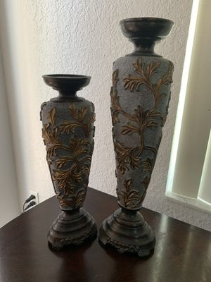 Brown and gold candleholders home decor for Sale in Miramar, FL