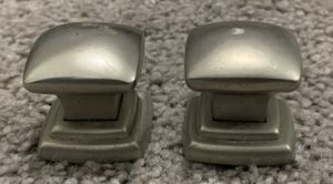 Vintage Set of 2 Metal Drawer Dresser Drop Bail Pull Handle Knobs With Screws DIY Project for Sale in Chapel Hill, NC
