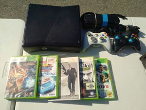 Xbox 360, 2 controllers and games for Sale in Gaithersburg, MD