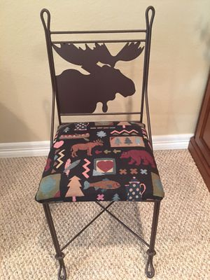 Northwoods Metal and Fabric Chair with Matching Toss Pillows and Fabric Table Cloths for Sale in Morrison, CO
