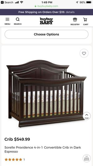 Baby Cache' Dark Espresso Convertible Crib/changing table for Sale in Fort Worth, TX
