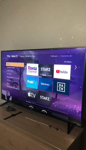 "Excellent condition 50"" TCL Smart Roku 4K flatscreen TV. $380 Pick up ready. USF area for Sale in TEMPLE TERR, FL"