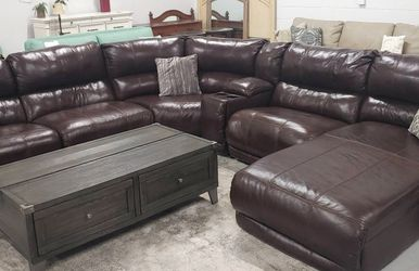 $50 Down Financing ‼️GENUINE LEATHER BROWN RECLINING SECTIONAL SOFA!!! Previously Owned for Sale in Oviedo,  FL