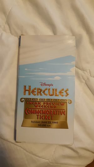 Exclusive limited-edition Disney's Hercules sneak preview weekend commemorative ticket with collector pin Sunday, June 22, 1997 @ 10:00 AM for Sale in Springfield, VA