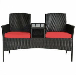 Patio Rattan Conversation Set Loveseat Sofa Cushioned Coffee Table Red for Sale in Whittier, CA