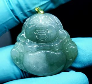 Burmese icy type A jadeite jade pendant lucky happy Buddha. Certified. for Sale in Fairfield, CA