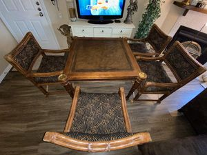 4 seat home poker table with 4 tiger print chairs for Sale in Denver, CO
