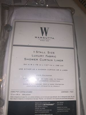 Wamsutta 54 x79 shower curtain stall size fabric liner with suction cups for Sale in Prospect Heights, IL