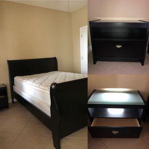 Bed frame, mattress, mattress topper, box spring, 1 night stand. Queen. Please read below. for Sale in Seminole, FL