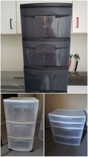 3 sterlite plastic drawers for Sale in Irvine, CA