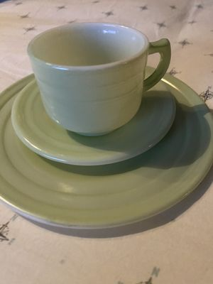Depression glass colored teacups and saucers for Sale in Acton, CA