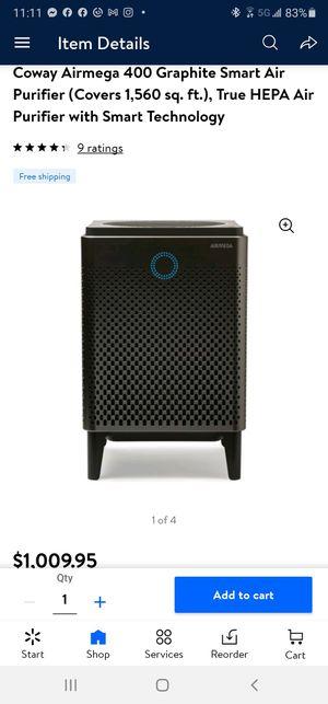 Coway Airmega 400 Graphite Smart Air Purifier (Covers 1,560 sq. ft.), True HEPA Air Purifier with Smart Technology $500 FIRM for Sale in Redlands, CA