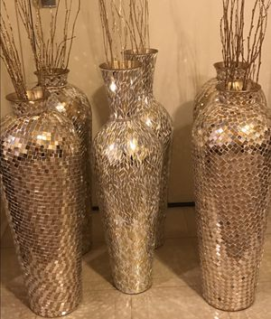 "3 set of large 30"" tall gold silver mosaic vases free bamboo sticks $160 each 2 click on my profile picture choose my offers for more listings for Sale in Montgomery Village, MD"