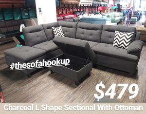 Real Showroom 😁 We Finance - Charcoal L Shape Couch Sofa Sectional With Storage Ottoman for Sale in Los Angeles, CA