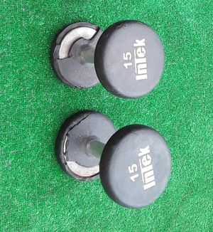 2×15lbs Intek Rubber Bumper Dumbell Weights for Sale in Hollywood, FL
