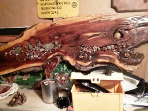 Wood shells or a bar top witch every would suit u better stain wti agates in it very nice piece for decorative for Sale in East Gull Lake, MN