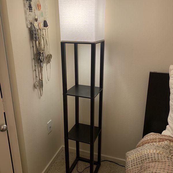 Black Floor Lamp With Shelves