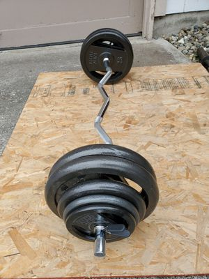 150 LBS EZ Curl Bar Set Free Weights for Sale in Steilacoom, WA