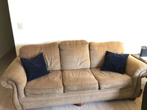 Sofa with pull out bed + leather seat for Sale in Centreville, VA