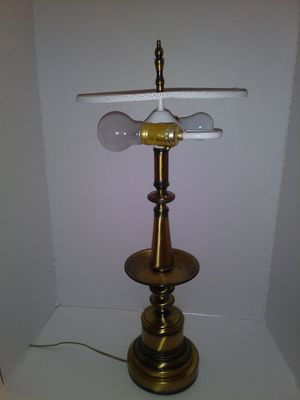 Antique Tall Brass Table Lamp w/ Shade (Dual Arm Bulb Socket) for Sale in East Saint Louis, IL