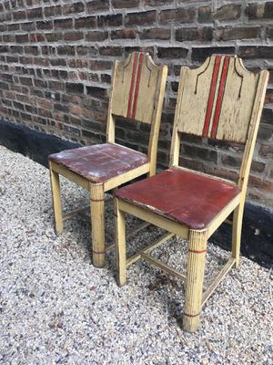 Pair of matching vintage hardwood dining chairs for Sale in Chicago, IL