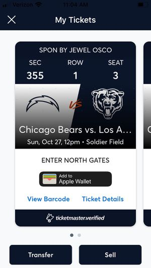 Bears vs chargers 10/27 for Sale in Villa Park, IL