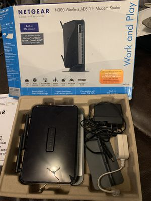 Netgear n300 wireless adsl2+ dsl modem and router for Sale in Las Vegas, NV