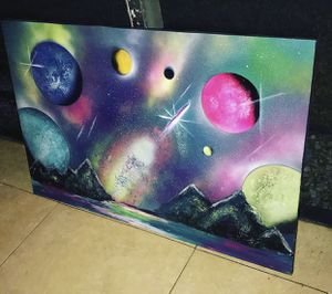 24x36 Spray paint Planets Canvas Art for Sale in Fort Lauderdale, FL