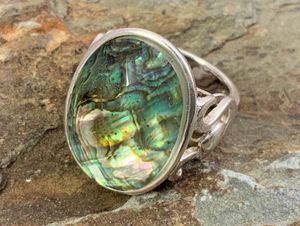 Large Sterling Abalone with Crystal Dome Overlay Ring for Sale in Roswell, GA