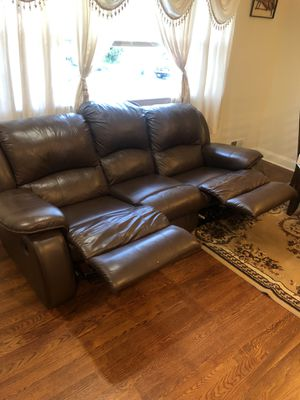 Reclining Leather Couch $200 OBO for Sale in Silver Spring, MD